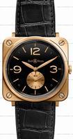 Replica Bell & Ross BR S Mecanique Pink Gold Unisex Wristwatch BRS-PKGOLD-BLACK_D